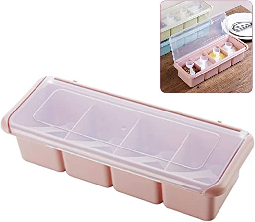 Seasoning Box,HARVESTFLY 4 Pieces Clear Seasoning Storage Container for Spice Salt Sugar Cruet,Condiment Jars with Spoons