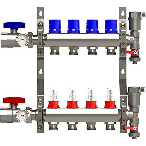 4 Loop Manifold Stainless Steel Pex 0-2 GPM Radiant Heating