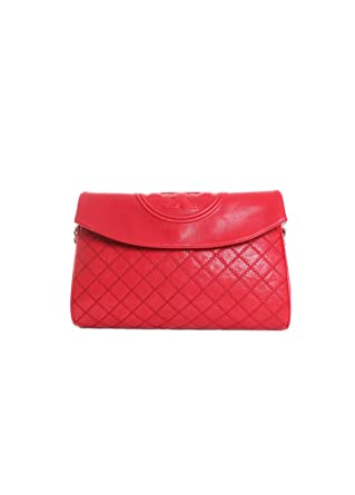 7be156cbe4e Amazon.com  Tory Burch Fleming Distressed Leather Fold-Over Hobo in Cherry  Apple  Clothing
