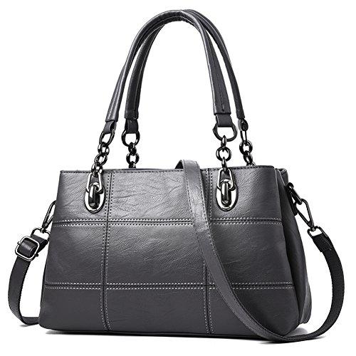 DW&HX Diseñador Pu piel Mujeres bolsos hobo hombro bolsas tote bolsos de pu cuero moda bolsos gran capacidad-Púrpura La Plata