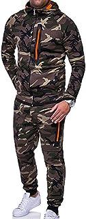 XBRECO Mens Long Sleeve Camo Hoodies Sweatshirt + Tracksuit Long Pants 2Pcs Sets with Pockets