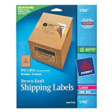 """Avery Kraft Brown Shipping Labels 5-1/2"""" x 8-1/2"""", Pack of 50 (5783)"""
