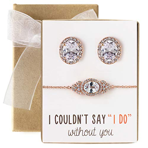 A+O Bridesmaid Gift Oval Bracelet and Earring Set, Wedding Jewelry Set in Rose Gold