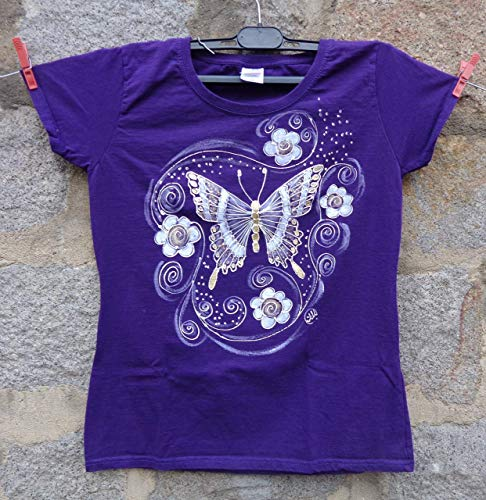 43c181a9cc95a Sale!!!30% Off,Hand Painted Butterflies Women's T-shirt/Girl Party ...