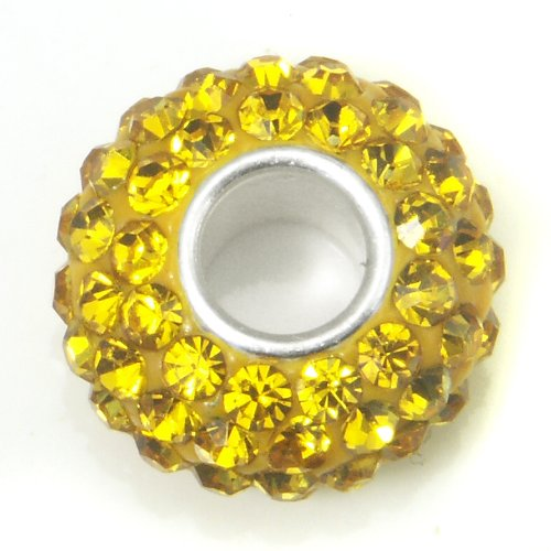 Yellow Crystal Ball Bead Sterling Silver Charm Fits