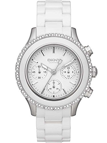 DKNY Watch, Women's Chronograph White Ceramic Bracelet 42mm NY8672