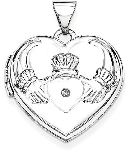 ICE CARATS 14k White Gold Diamond Heart Shaped Irish