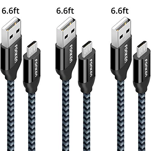 Micro USB Android Charger Cable, FONKEN USB to Micro USB Cables [3-Pack,6.6FT] High Speed USB2.0 Sync and Charging Cables for Compatible Samsung, HTC, Motorola, Nokia, Kindle, MP3, Tablet etc. (Black)