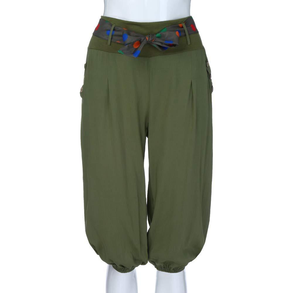 RISTHY Corto Baggy Pantal/ón Verano Bombacho Harem Boyfriend Aladin 3//4 Pantalones Cortos Talle Bajo S/ólido Cintura Atada Pantalones Casual con Botones