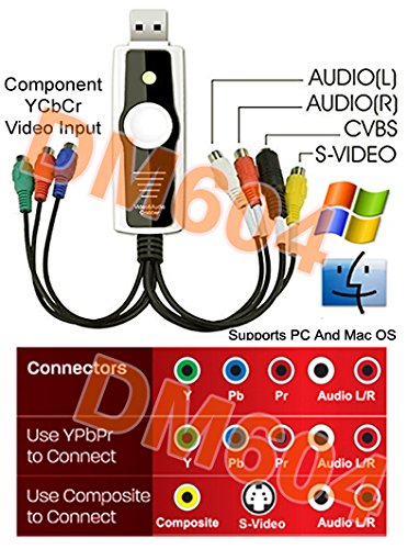 USB-Based Component Video RCA S-Video DVR Recorder For Mac PC (Component Video S-video Adapter)