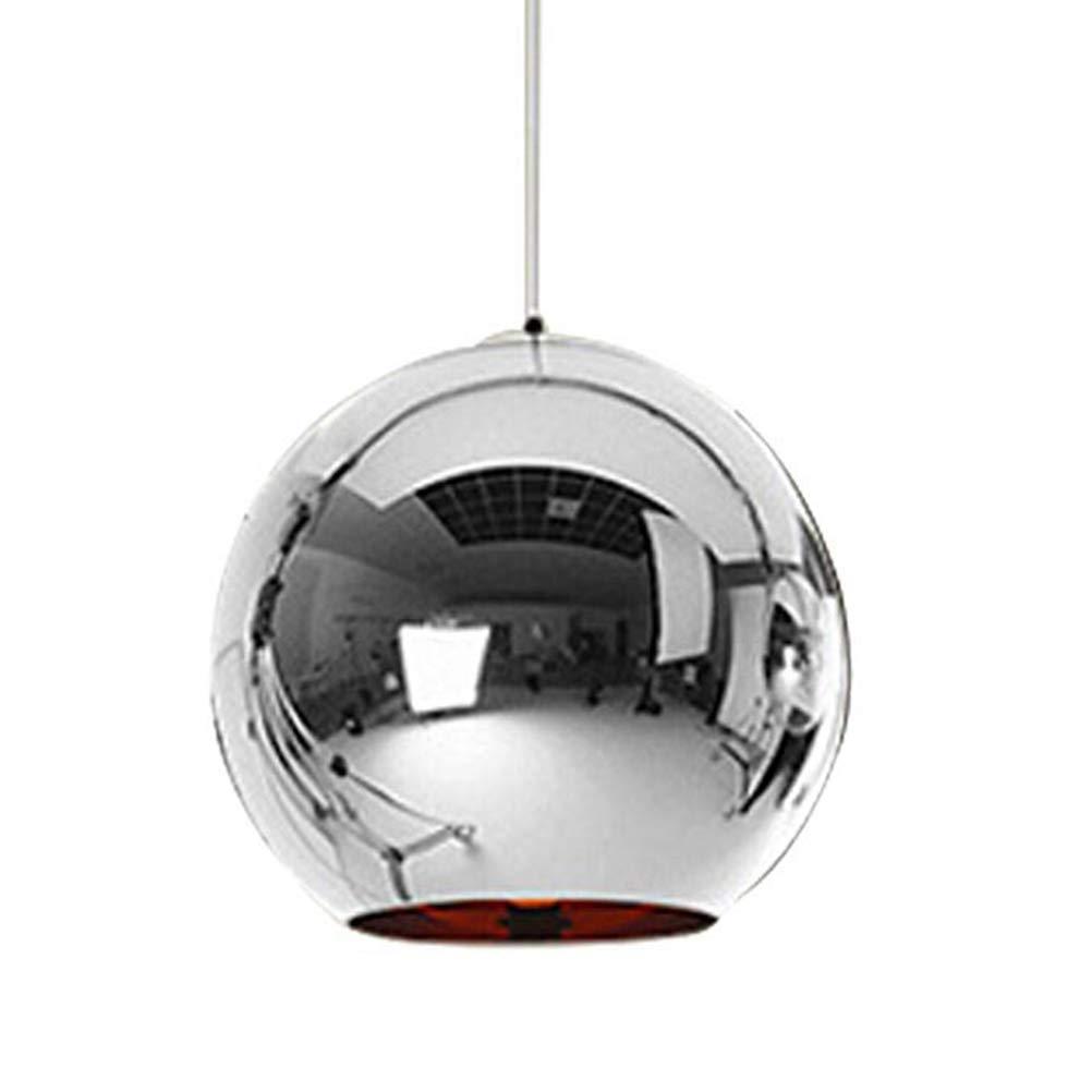 LEDMOMO 15cm Glass Globe Chandelier Retro Ball Hanging Lights Decorative Pendant Light for Restaurant Living Room (Silver)