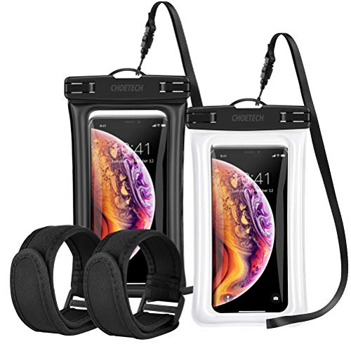 Floating Waterproof Case, CHOETECH (2Pack) Clear Transparent Cellphone Waterproof Dry Bag with Armband Neck Strap for iPhone Xs X 8 8 Plus 7 Plus 6s Plus, Samsung Galaxy S9, S8, S7 and More
