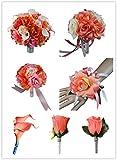 17pc Bridal Party Wedding Flowers-bouquet,corsage,boutonnieres