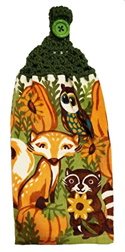 Handcrafted Green Crochet Topped Fall Fox & Owl Kitchen Towel by Joy's Designs from the Heart