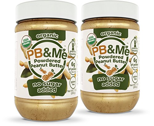 PB&Me USDA Organic Powdered Peanut Butter, Keto Snack, Gluten Free, Plant Protein, No Sugar Added, 7 Ounce, 2 Count