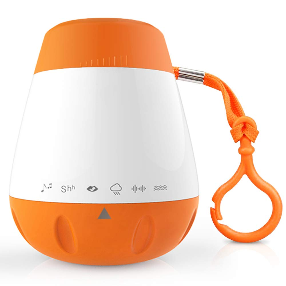 EAREST Portable Baby Sleep Soother Sound Machine - Gentle 6 Sounds Include Lullaby, Fetal Heartbeat, White Noise, Shush, Ocean, and Rain - Auto-Off Timer Function and USB Output Charger