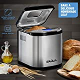 Baulia Automatic Bread Maker Machine - 15 Programmable Bread Types Settings – Stainless Steel – Perfect Bake Technology – Wake Up to a Freshly Baked Loaf of Bread – 710-Watts