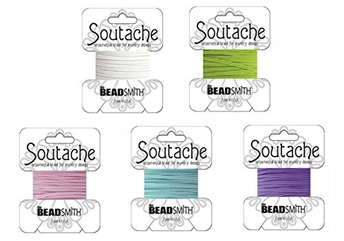 Beadsmith Soutache Braided Rayon Cord/Trim Bundle: 5 Colors, 3mm Wide, 3 Yds per color 'Spring ()