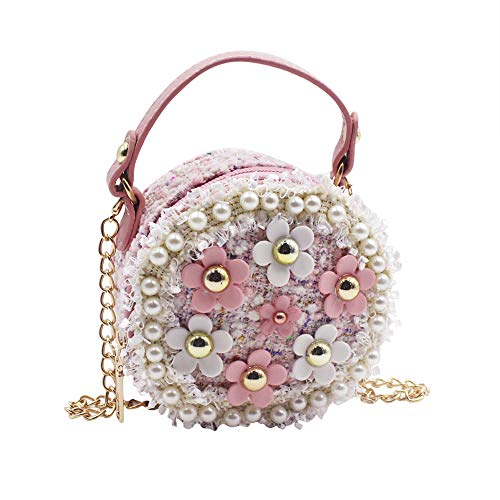 Aibearty Mini Crossbody Bag Girls Purse Pearl Flower Shoulder Handbags with Chain Pink ()