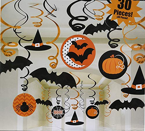 30 Pieces Halloween Hanging Swirl Decorations Ceiling Hanging Foil Cards Spider Bat Witch Pumpkin Hat Supplies for Spooky Night Party Kids Gift Garden Home Yard Decor