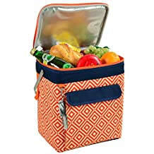Picnic at Ascot 406-DO 6 Bottle Insulated Wine Tote, Collapsible Multi Purpose Cooler, Orange/Navy