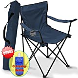 Folding Camping Chair, Portable Carry Bag for Storage and Travel, Best Durable Outdoor Quad Beach Chairs, Comfortable Arms, Space Saving, Lightweight Great for Transport
