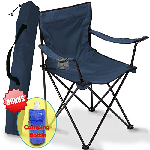 Folding Camping Chair, Portable Carry Bag for Storage and Travel, Best Durable Outdoor Quad Beach Chairs, Comfortable Arms, Space Saving, Lightweight Great for Transport, Sports, Fishing and Hiking (Midnight Blue) (Portable Travel Camping Chair)