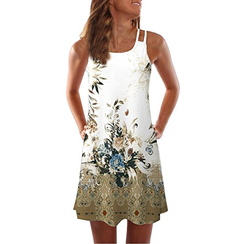 Todaies Women Summer Floral Print Dress, Vintage Sleeveless 3D Bohe Tank Short Mini Dress (2XL, White 1) by Todaies (Image #3)