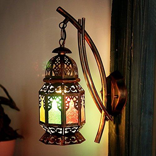 Baycher 41 cm Bohemia Creative Iron Wall Lamp Turkey Colorful Glass Lampshade Wall Light Restaurant Cafe Inn Bed and Breakfast Farmhouse Lighting Fixtures