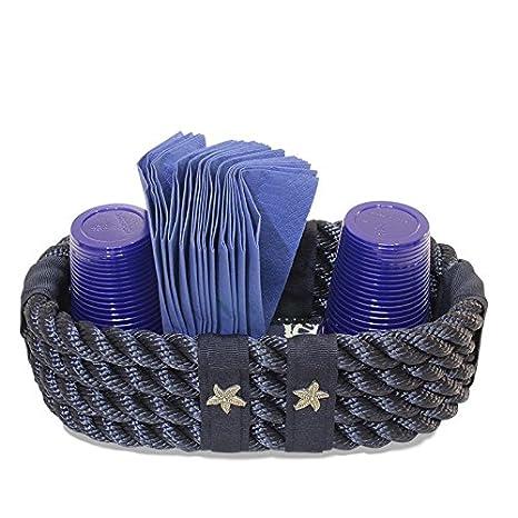 Creazioni Nautiche, Porta Bicchieri tovaglioli in Stile Nautico, Colore Cima Nautica: Azzurro