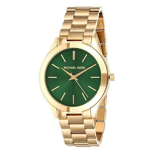 Michael Kors MK3435 - Reloj Analógico para Mujer, de Cuarzo con Correa en Acero Inoxidable, Gold/Green: Amazon.es: Relojes