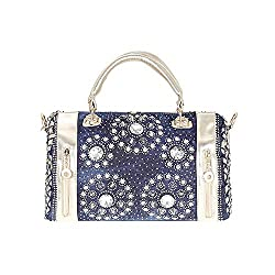 Women's Knitted Blue Denim Shiny Rhinestone Handbags