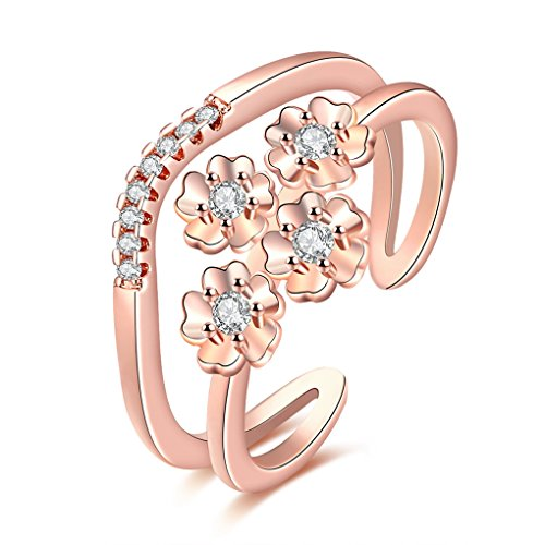 Double Solitaire Deck - FENDINA Luxurious 18K Rose Gold Plated Double-Deck Solitaire Band Rings Cubic Zirconia Flower Open Rings Adjustable Size