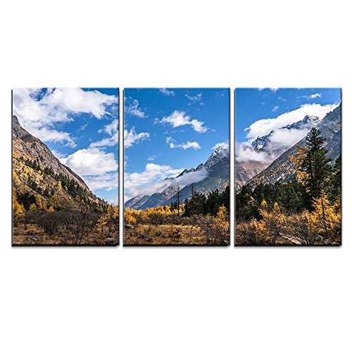 Forest and Mountain Landscape x3 Panels