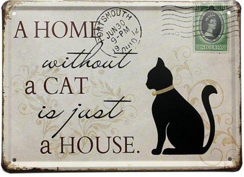 Starworld 8X6inch Black Cat Tin Sign Stamp Vintage Pub Wall Decor Thanksgiving Day Gift