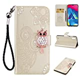 Amocase Wallet Case with Black 2 in 1 Stylus for Samsung Galaxy M10,3D Bling Gems Owl Magnetic Mandala Embossing Premium Strap PU Leather Card Slot Stand Flip Case for Samsung Galaxy M10 - Gold
