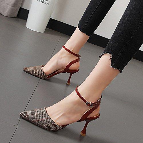 Xue Qiqi Schlank und elegant high-heel Schuhe mit mit mit hellen Nähten grid geschlitzten Schnalle Baotou Sandalen 26c8f5