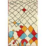 nuLOOM 200MJSM19A-508 Hand-Tufted Moroccan Berber Wool/Faux Silk Ivory Rug (5-Feet X 8-Feet)