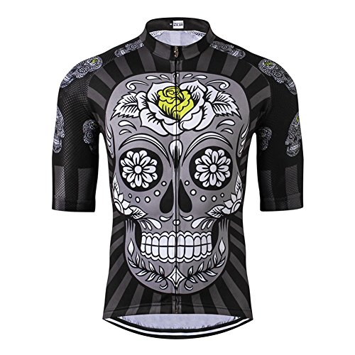 Weimostar Men's Skull and Rose Short Sleeve Cycling Jersey Breathable Size XL