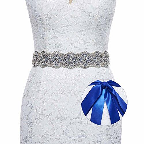 - Sisjuly Luxury Handmade Crystal Rhinestone Wedding Sash Belt for Prom Evening Dresses Royal Blue