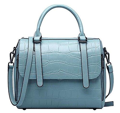 el cuero Primera Bolsos Messenger de verano y cuero Bolso bolsos Blue La patrn primavera Capa cocodrilo de de porttil Ex4qApWzw
