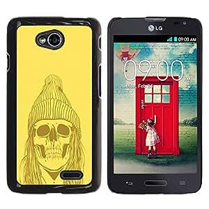 YiPhone /// Prima de resorte delgada de la cubierta del caso de Shell Armor - Yellow Punk Hippie Skull - LG Optimus L70 / LS620 / D325 / MS323