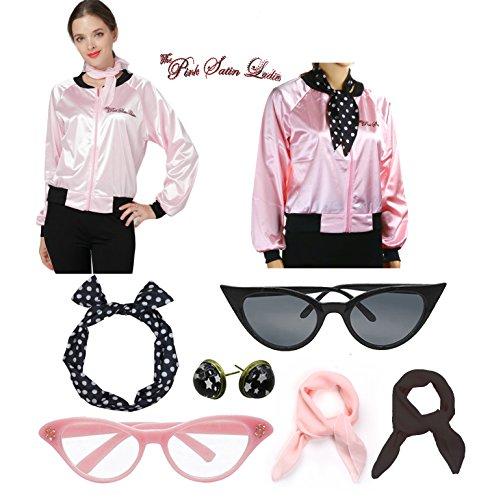 Vintage 1950s Pink Satin Ladies Polka Dot Headband Costume Accessories Set (L, Pink) -
