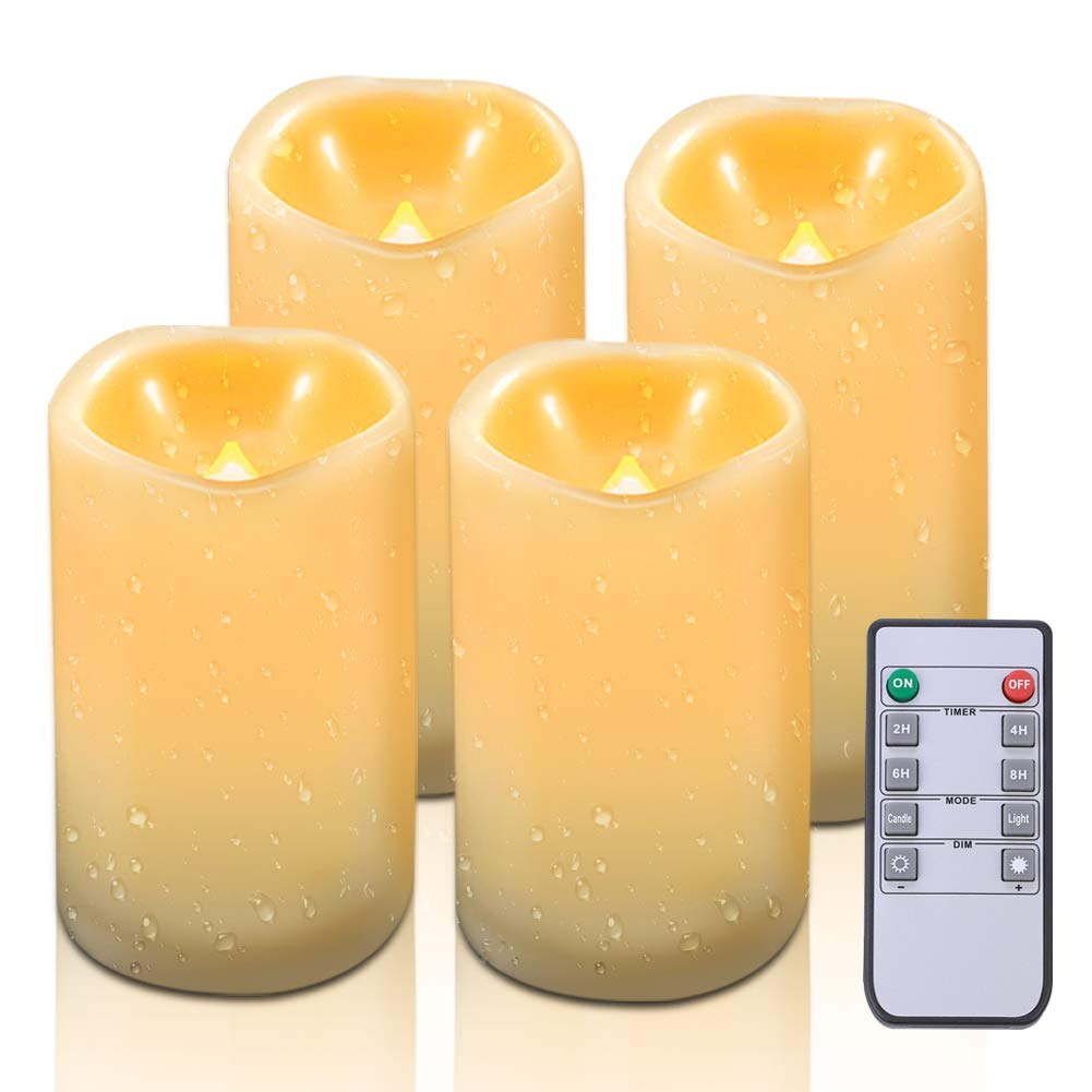 Beichi Waterproof Flameless Candles with Remote & Timer, LED Pillar Candles Set(H 5'' 5'' 6'' 6'' x D 3''), Outdoor Battery Operated Candle, Resin Plastic, Flickering Amber Glow, Set of 4