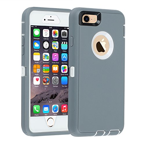 iPhone 6/6s Case,[Heavy Duty] Armor 3 in 1 Built-in Screen Protector Rugged Cover Dust-Proof Shockproof Drop-Proof Scratch-Resistant Tough Shell for Apple iPhone 6/6s 4.7 inch (Gray)