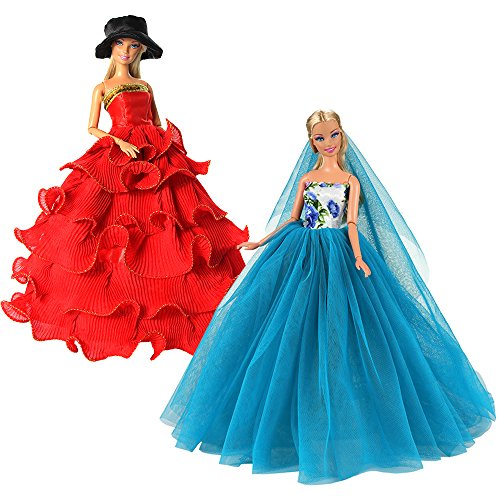 (BARWA 2 Pcs Doll Dress Red Gown Dress with Hat and Blue Wedding Dress with Veil Evening Party Clothes for 11.5 Inch Girl Doll (Blue +)
