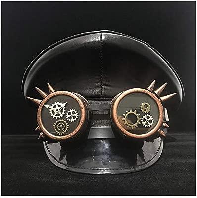 Xiaochou@sl 100% Cuero Gafas de Engranaje Negro Gorra de Visera ...