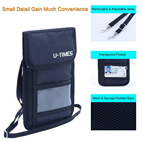 UTIMES Travel Passport Neck Bag RFID Blocking Cell Phone Wallet Pouch With Additional Carabiner-Ultra Slim & Light Weight(Black) by UTIMES (Image #3)