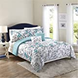 5-Piece Set Teal Flowers, King Size