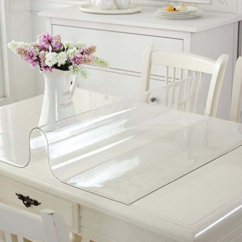 Do4U PVC Waterproof Tablecloths Protector For Kitchen Table Desk Marble Thick Soft Glass Transparent PVC Protector Table Pads (23.636 Inches, Clear)